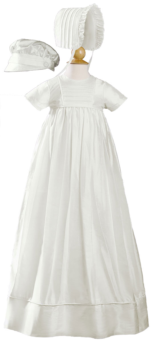"Silk Dupioni Christening-Baptism Heirloom Gown, Unisex 34"" Length"