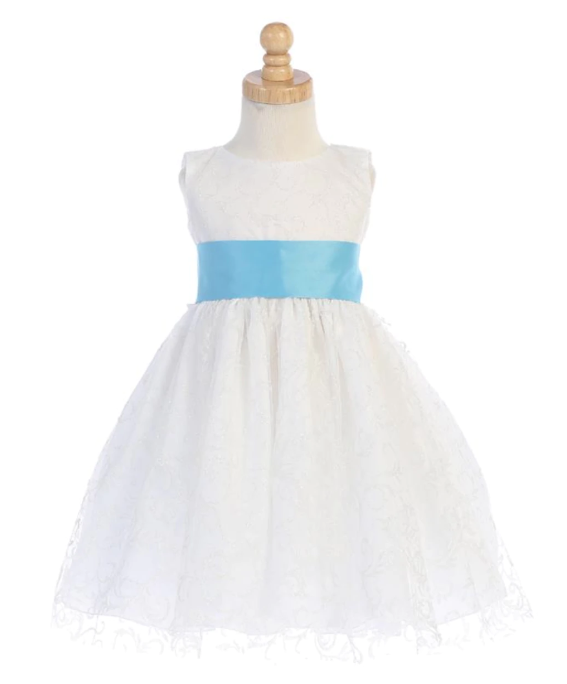 Girls White or Ivory Glitter Tulle Dress with Bow Sash