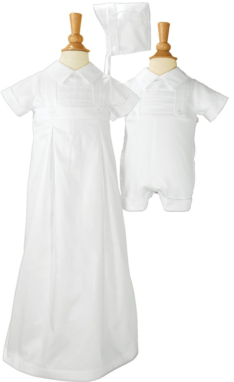 Boys 100% Cotton Convertible Christening Baptism Set with Hat